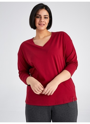 Faik Sönmez  V Yaka Uzun Kol T-Shirt 61823 Bordo